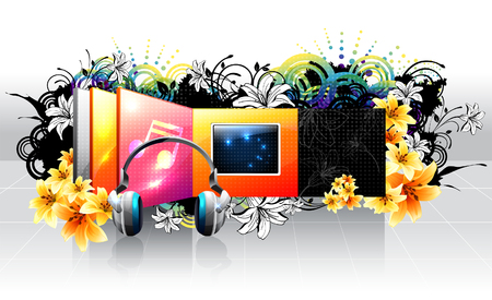 illustrating: TV Screen and headphone with flora design
