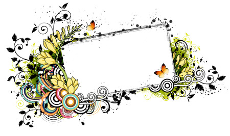 Rectangular frame with flora elements Illustration