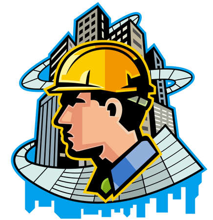 Close-up of man wearing hardhat at site Illustration