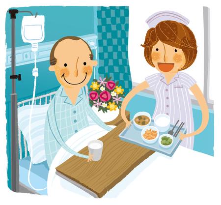 Patient in hospital bed receiving breakfast from Nurse Illustration