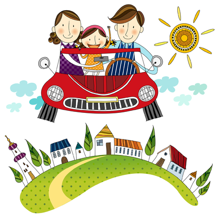 Familie reist im Auto Standard-Bild - 78834333