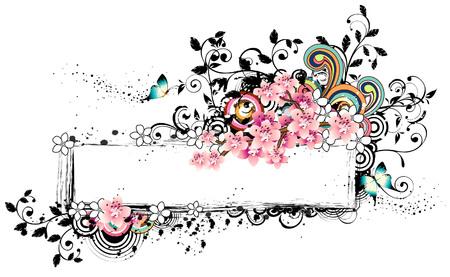 Rectangular frame with flora elements Ilustração