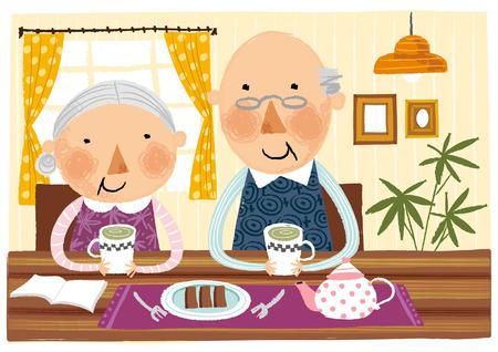 pareja comiendo: Elderly couple taking breakfast Vectores