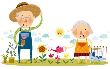 family gardening: Elderly couple doing gardening