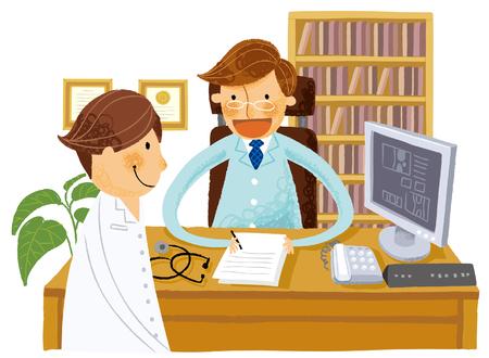 Doctor writing down prescription Illustration