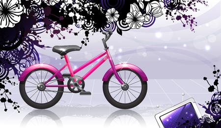 Bicycle with flora design Ilustração