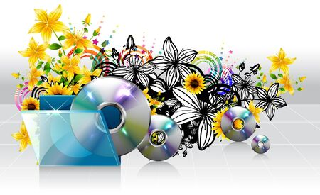 Compact disc and case with flora design
