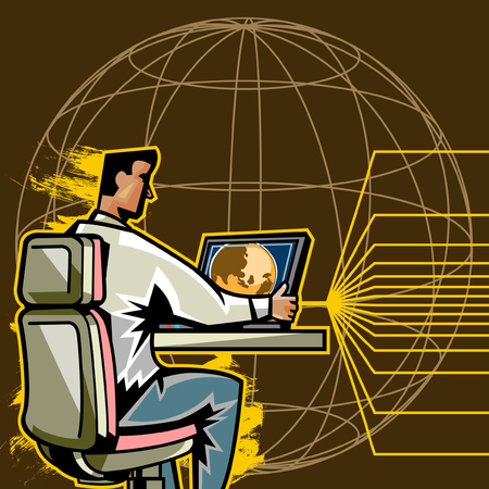 Side view of man using computer Illustration