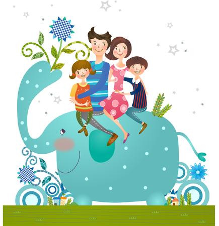 Familie auf Elefantenfahrt Standard-Bild - 78834382