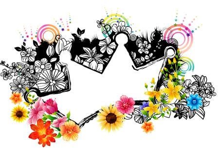 Crown label with flora design Banco de Imagens - 78834388