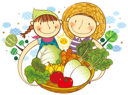 Boy and Girl holding the basket of vegetable 向量圖像