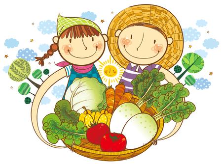 Junge und Mädchen, die den Korb des Gemüses halten Standard-Bild - 78834397