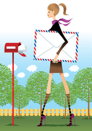 Profile of woman holding envelope, standing near mailbox