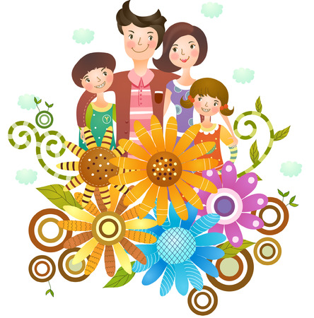 Portrait of happy family Illustration