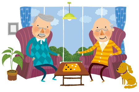 show window: Two elderly Man playing Indoor game Illustration
