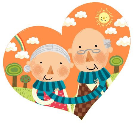 portrait of happy elderly couple