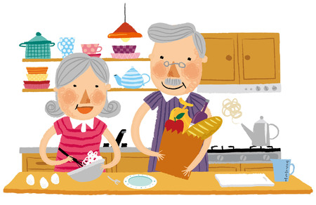 Elderly couple helping each other in kitchen Illustration