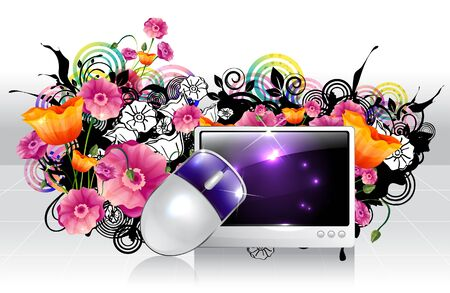 creative arts: Computer and mouse with flora design Illustration