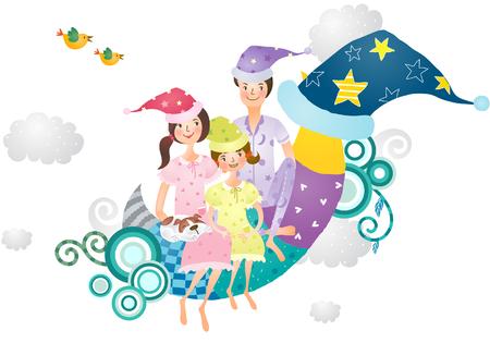 Portrait of family sitting on moon wearing hat