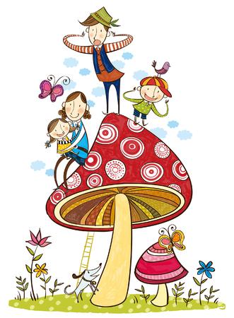 Porträt der glücklichen Familie über den großen Pilz Standard-Bild - 78834473