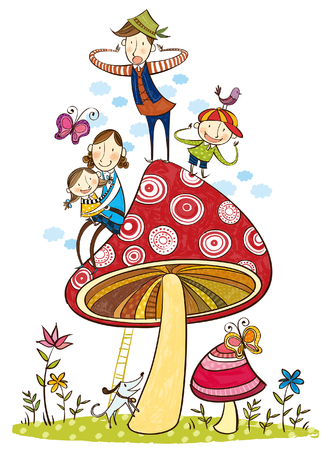 portrait of happy family over the large mushroom