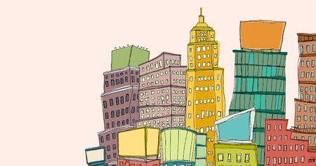 Buildings against clear sky Ilustrace