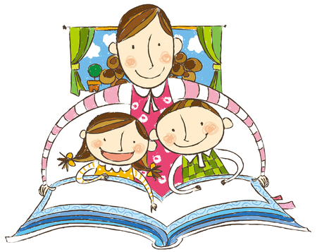 Mother saying bed time story to her children