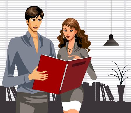 Business people working together in office Ilustração