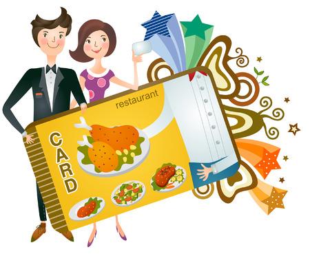 Couple holding restaurant card