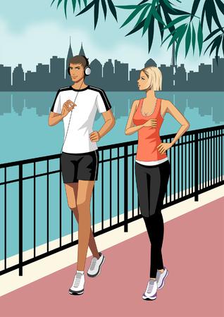 Young Couple jogging, wearing headphones