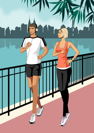 Young Couple jogging, wearing headphones