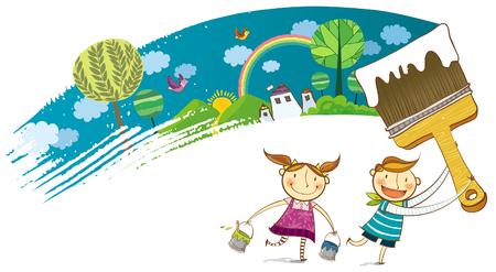Kinder malen die kleine Stadt Szene Standard-Bild - 78834093