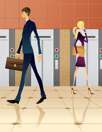 Businesswoman and businessman walking by elevators