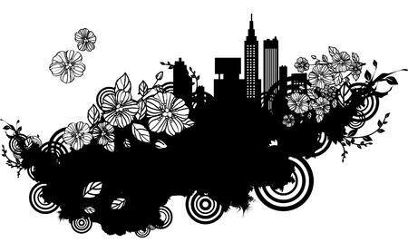 Building exterior with flora design Ilustração