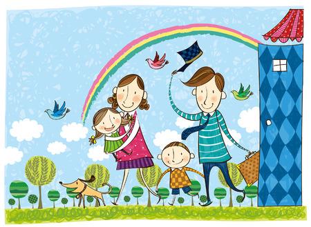 Familie, die in den Urlaub geht Standard-Bild - 78834602