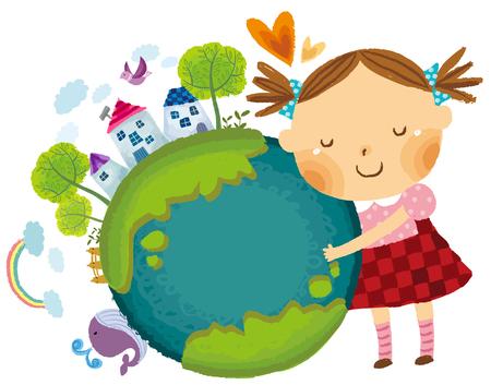 Mädchen liebt die Erde Standard-Bild - 78834601