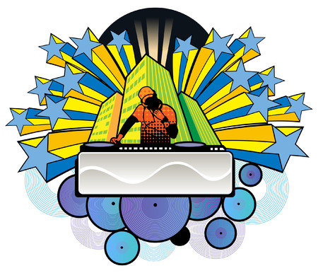 A DJ boy mixing music Illustration