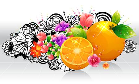 Oranges fruit with flora design