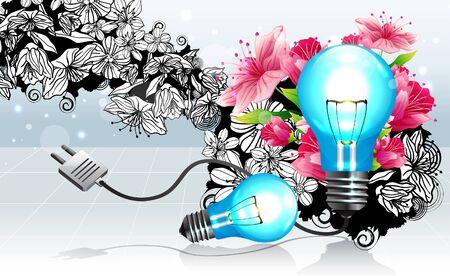 Light bulb with flora design Ilustração