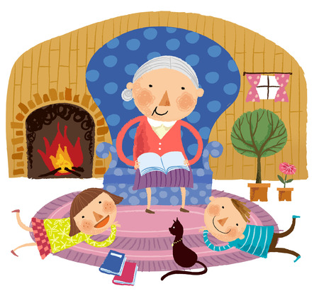 Grandmother saying story to grandchildren Illustration