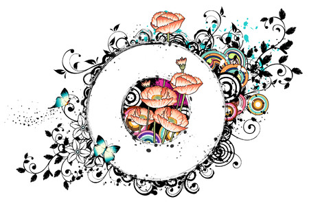 creative arts: Oval frame with poppies flower Illustration