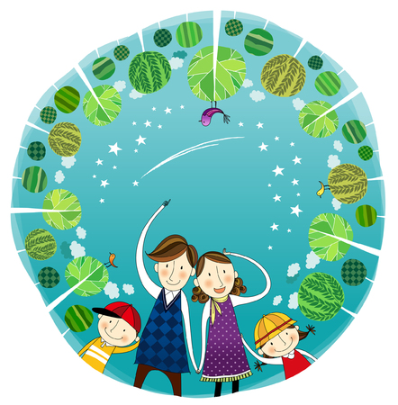 computer animation: Portrait of happy family surrounded by Trees Illustration