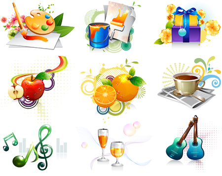 apples and oranges: Leisure activity and refreshment icon set Illustration