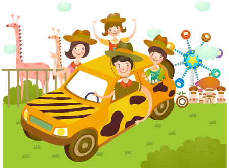 Familie gaan naar pretpark