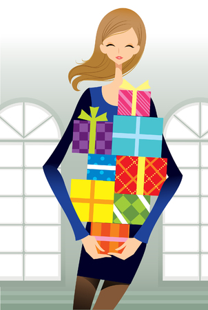 Portrait of teenager girl carrying stack of gifts