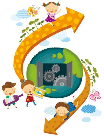 niños reciclando: Reciclaje de objetos