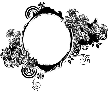 Oval Shape with flora design Banco de Imagens - 78834190