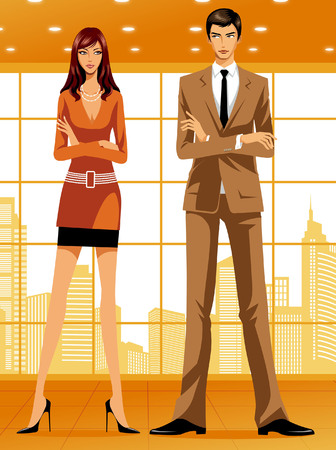 Businesswoman and business man looking at each other Illustration
