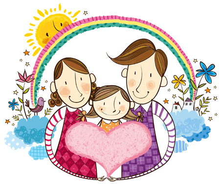 Portrait of happy family Illustration