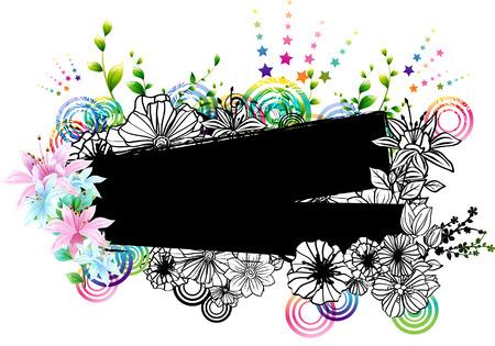label with flora design Ilustração